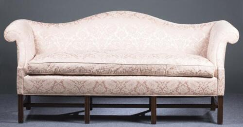 Biggs (Kittinger)  Mahogany Camelback Sofa Williamsburg Quality Damask Fabric