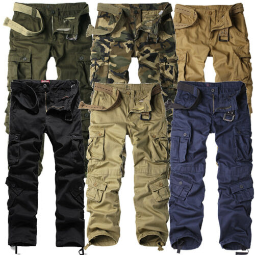 Mens NEW Cargo Pants Heavy Duty Military Colours Straight Leg Sizes 30 to 42