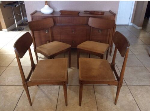 Set of 4 Craddock Mid Century Danish Modern Teak Stamped Dining Chairs