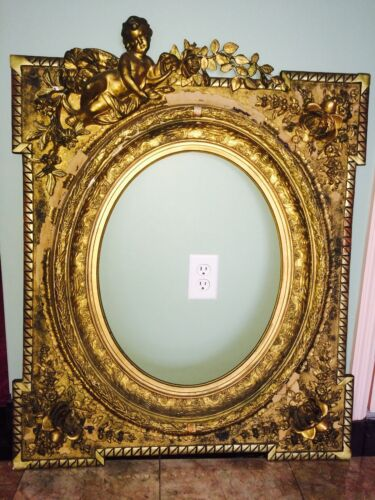 "Antique Ornate Gold Leaf? Cherub & Roses Picture Frame Wood 31"" X 39"" Gesso?"