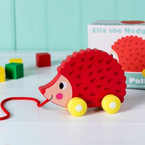 NEW Rex International Wooden Pull Along Hedgehog - Baby Pull Toy