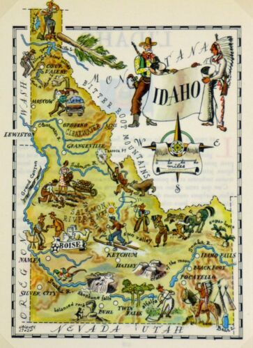 Idaho Vintage Pictorial Map (Small/Postcard size)