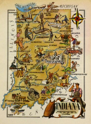 Indiana Vintage Pictorial Map   (Small/Postcard size)