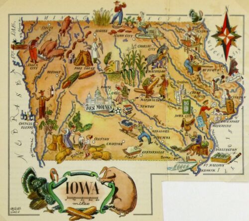 Iowa Vintage Pictorial Map  (Small/Postcard size)