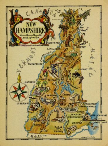 New Hampshire Antique Vintage Pictorial Map