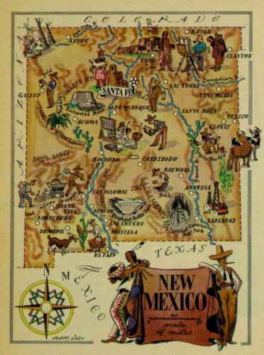 New Mexico Vintage Pictorial Map   (Small/Postcard size)