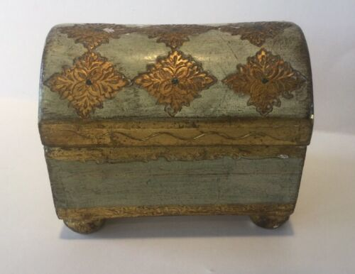 Vintage Florentine Gold Italian Wood Toleware Domed Chest Trinket Jewelry Box