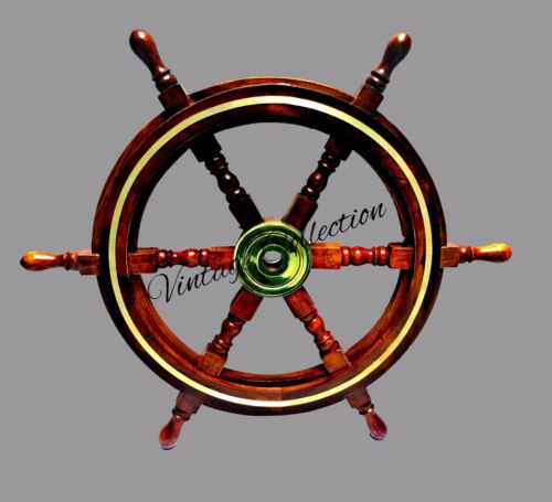 "24"" Decorative Wooden Hanging Ship Wheel Nautical Brass Boat Captain Steering"