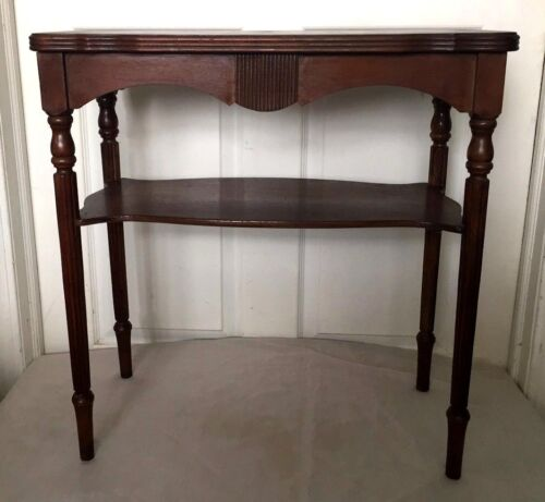Antique / Vintage Victorian Carved Solid Wood 2 Tier Side / End Table - Nice!