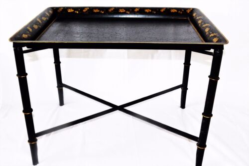 Large Rectangular Tole Tray with hand painted Oak Leaves with stand.