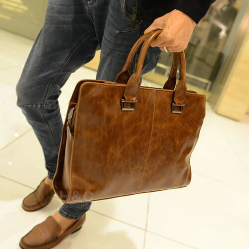 Men's Briefcase Portfolio Business Case PU Leather Shoulder Messenger Laptop Bag