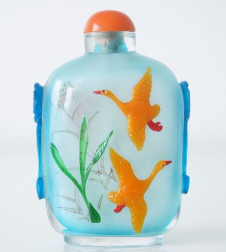 Blue Frosted Glass Chinese Snuff Bottle With Cranes & Plants