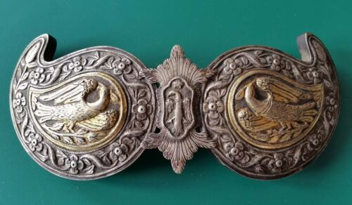 RARE MAGNIFICENT antique silver alloy belt buckle with songbirds+GILDING  19th c