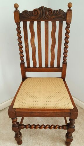 Early to Mid to 20th Century Set Of TWO English Oak Barley Twist Dining Chairs
