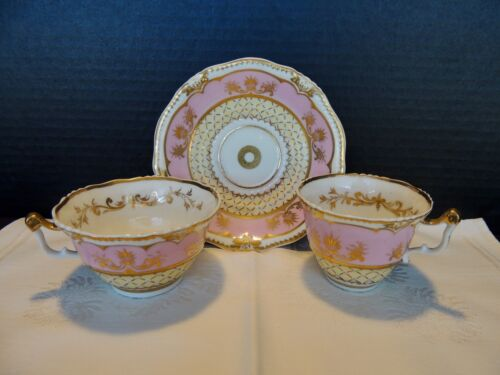 English Porcelain Saucer, Coffee, Tea Cup Pink with Painted Gold 1800s England
