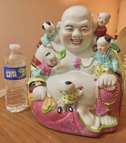 Large Vintage Chinese Late 19thc Early 20th Famille Rose Porcelain Buddha Signed
