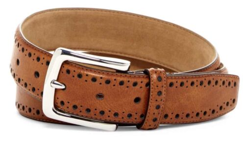 COLE HAAN BELT PERFORATED TRIM DRESS BELT IN TAN BRAND NEW WITH TAGS