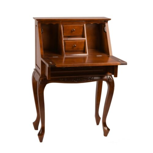 Small Secretary Desk Hand Carved Hard Wood 3 Drawer Mahogany Finish Fold Out Top