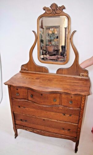French Country ANTIQUE OAK Side Board Buffet DRESSER Vanity  WITH BEVELED MIRROR