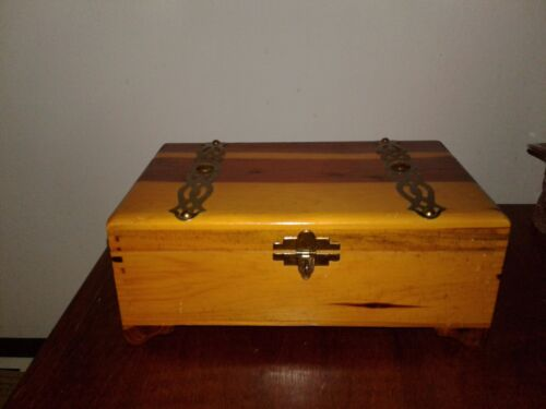 Vintage Cedar Wood Trinket Jewelry Box With  Brass Look Straps Dove Tail 9 1/4""