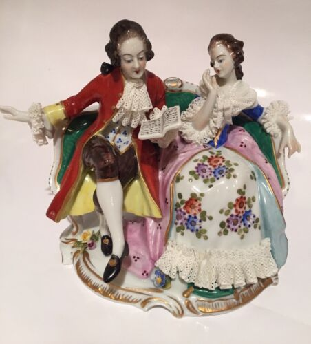 """Volkstedt Dresden Porcelain Figurine Lady And Gentleman Reading On Sofa 5"""""""
