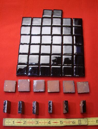 50 Miniature-glossy Black…red clay tile…NOS…made by the Mosaic Tile Co.