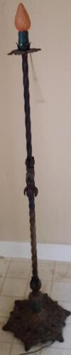 Antique Iron Dragonfly Base Torchiere Floor Lamp - VGC  WORKS - BEAUTIFUL DETAIL