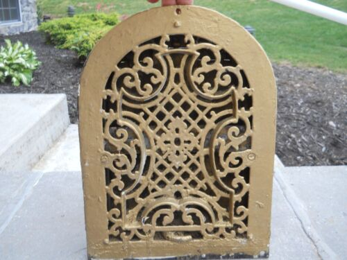 Ornate Antique Cast Iron Arch Top Heating Grate Vent Register Cover Architectura