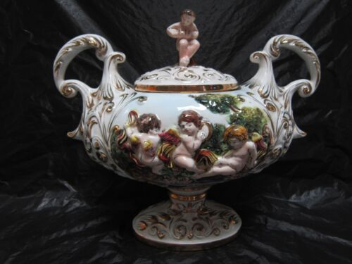 TUREEN + LID CERAMIC VICTORIAN STYLE OLD COPU DE MONTE ORNATE GOLD MADE IN ITALY