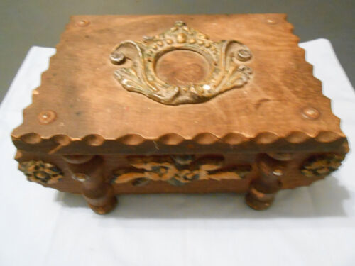 Wooden Box Hand Made Carved Ornate and Metal Straps, Jewelry or Trinket Box
