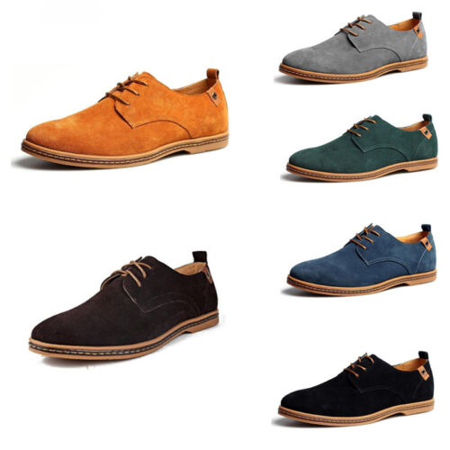 Men's Suede Leather Shoes Dress Formal Oxfords Business Casual Flats Loafers