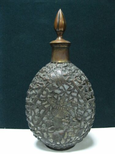 Antique Glass Decanter Brass Sword Lotus floral motifs Liquor old Chinese China