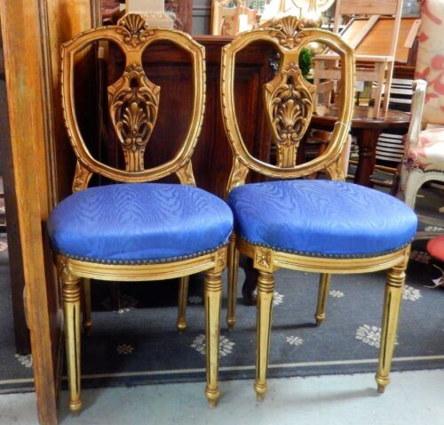 VINTAGE ANTIQUE PAIR OF ORNATE GOLD GILDED FRENCH OR ITALIAN ACCENT CHAIRS