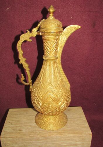Old or Antique Middle Eastern or Islamic Gilded Brass or Bronze Ewer
