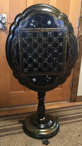 Victorian Tilt Top Papier Mache Chess Table Circa 1870,s Beautiful - Very Rare