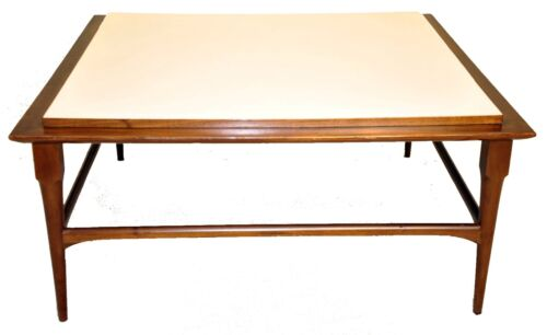 Mid-Century Modern Square Coffee Table with White Formica Top
