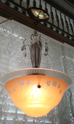 Antique Art Deco vintage Glass Shade Crystal Light Fixture Chandelier
