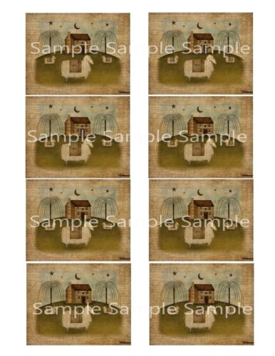 Primitive Pantry Labels Sheep Ewe Cabin Willow For Candles Jars Cans Set/ 8 2x3