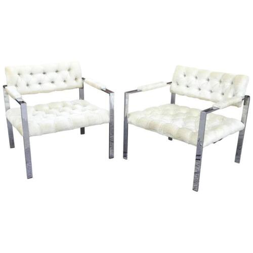 Pair of Flat Bar Chrome Velvet Lounge Chairs by Milo Baughman for Thayer Coggin