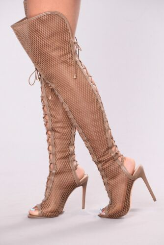 Thigh High Over Knee Lace Up Open Peep Toe Netted Mesh Boots - Taupe