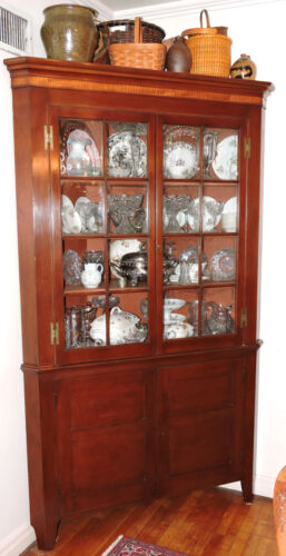 "c1800 Federal Neoclassical corner cupboard, cabinet, cherry, tiger maple, 88""t"