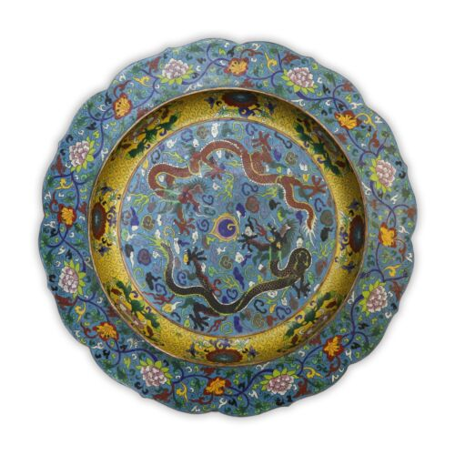 A MASSIVE CHINESE ANTIQUE CLOISONNE ON BRONZE PLATE