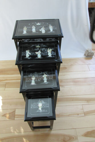 VINTAGE CHINESE NESTING/STACKING TABLES set of 4    MOTHER OF PEARL(1)