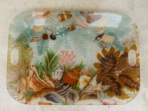 LARGE 70'S CHRISTIAN DIOR LUCITE TRAY FROM PARIS W SEA SHELLS, CORAL & SEAWEED