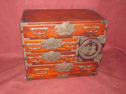 Small Antique Japanese Iron Mounted Tansu Cabinet