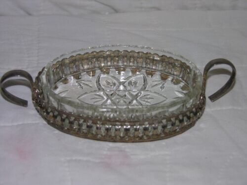 Vintage Small Crystal Dish In A Silverplated Holder