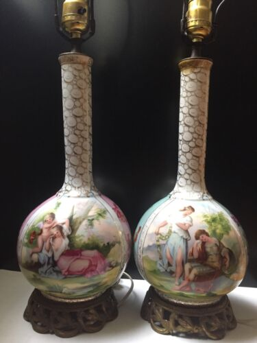 Beautiful Pair Of Vintage Antique Porcelain Table Lamps w Neoclassical Scenes