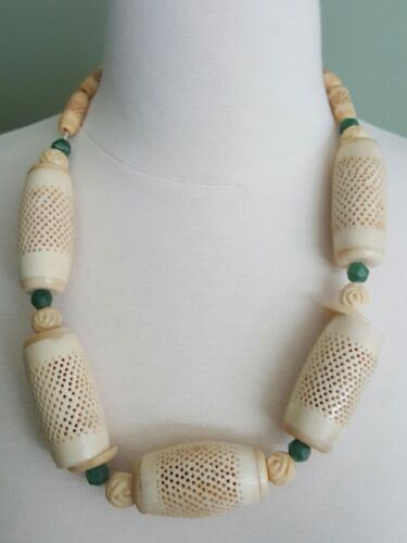 Antique Chinese Intricately Carved Bovine Bone Bead and Natural Jade Necklace