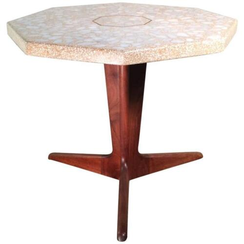 Mid Century Modern Terrazzo Pedestal Side Table By Harvey Probber