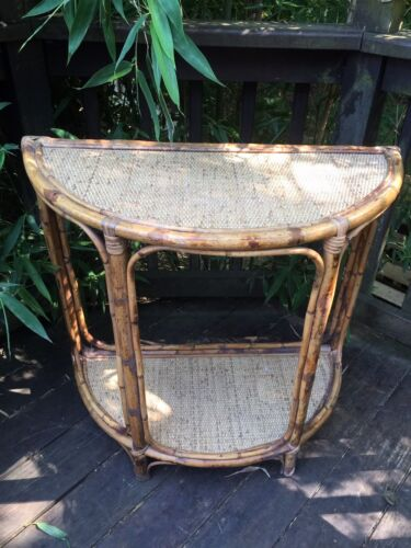 VTG Pier 1 Chinoiserie Bamboo Rattan Wicker Demilune Hall Table